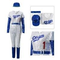 Takerlama Rocketman Elton John Cosplay Costume Baseball Uniform Jumpsuit Cap Full Set Adult Men Halloween Carnival Party Outfit