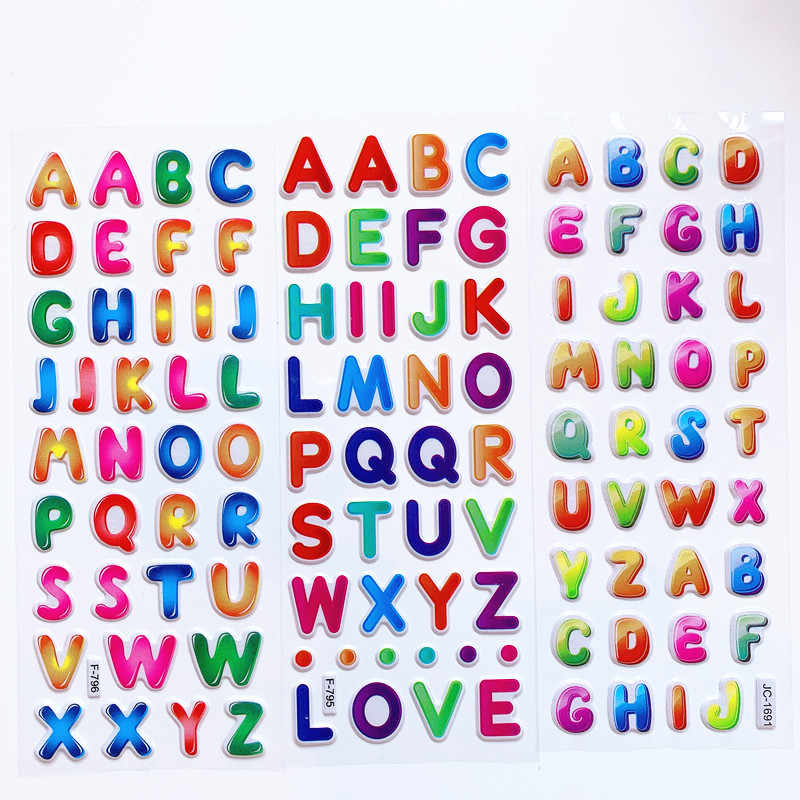 Rainbow Alphabet ABC Letter PUFFY Stickers Scrapbook Planner Craft Teacher