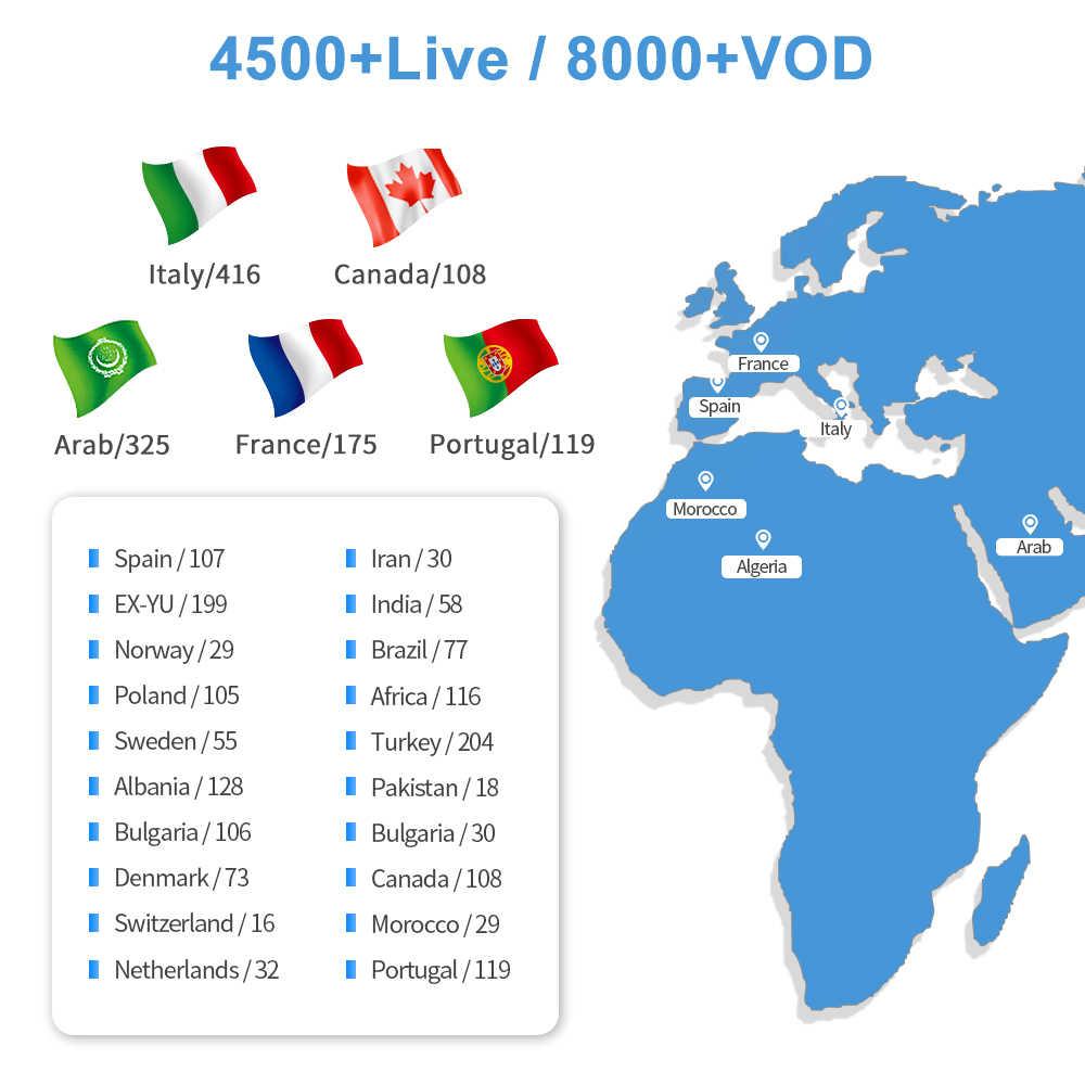Francese Turky Italiano Canali IPTV Europeo Candian Arabo SUBTV prova per Android TV Box 1 Anno suscription WEINTV
