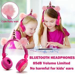 Image 2 - Jednorożce słuchawki bezprzewodowe słuchawki Bluetooth dla dzieci składana muzyka stereo rozciągliwy zestaw słuchawkowy dla chłopców dziewcząt prezenty