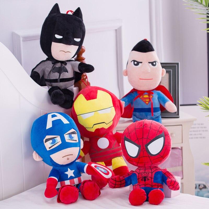 25cm Marvel Avengers Soft Stuffed Super Hero Captain America Iron Man Spiderman Plush Toys Movie Dolls For Kid Birthday Gift