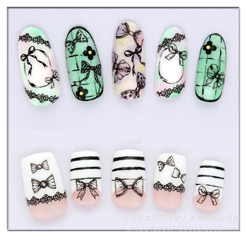 New Style Japanese Korean Of MYR082-084 Bow Series Nail Sticker Watermarking Phototherapy Nail Sticker Flower Stickers