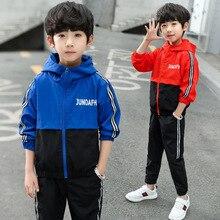 цены на 2019 New Boy Hooded Tracksuit Clothes Set Kids Spring&Autumn Cotton School Uniform Sport Suit Boys Clothing Sets 4-14Y  в интернет-магазинах