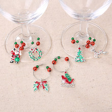 6Pcs Christmas Wine Glass Decoration Metal Snowflake Reindeer Charms Pendant Wine Glass Goblet Cup Ring Christmas Decor navidad(China)