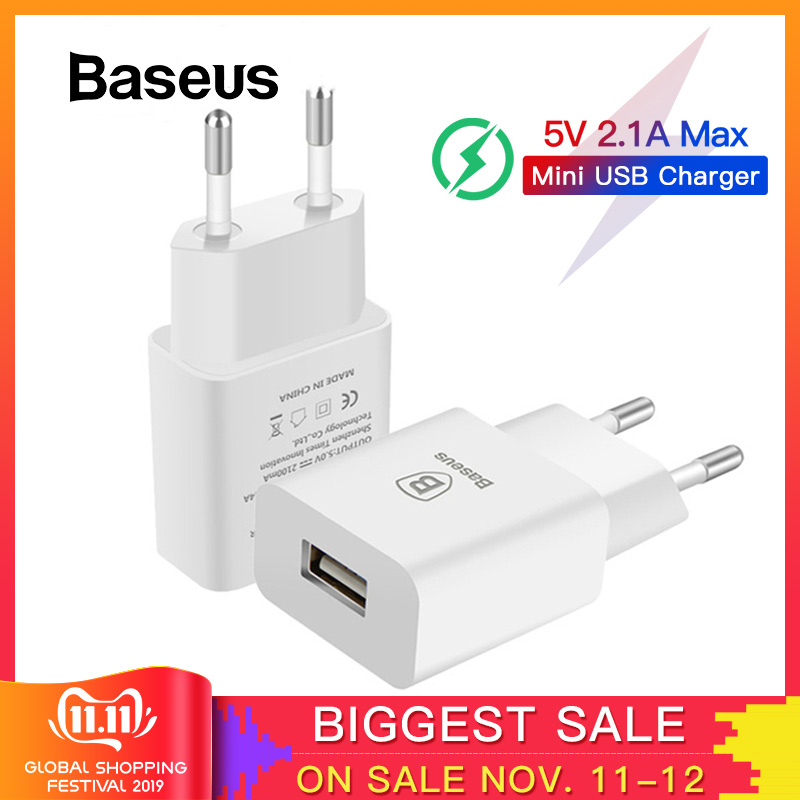 Baseus 5V 2.1A EU Plug Mini USB Charger for Samsung Xiaomi Mobile Phone Charger Adapter Travel Wall Charger for iPhone Charger-in Mobile Phone Chargers from Cellphones & Telecommunications