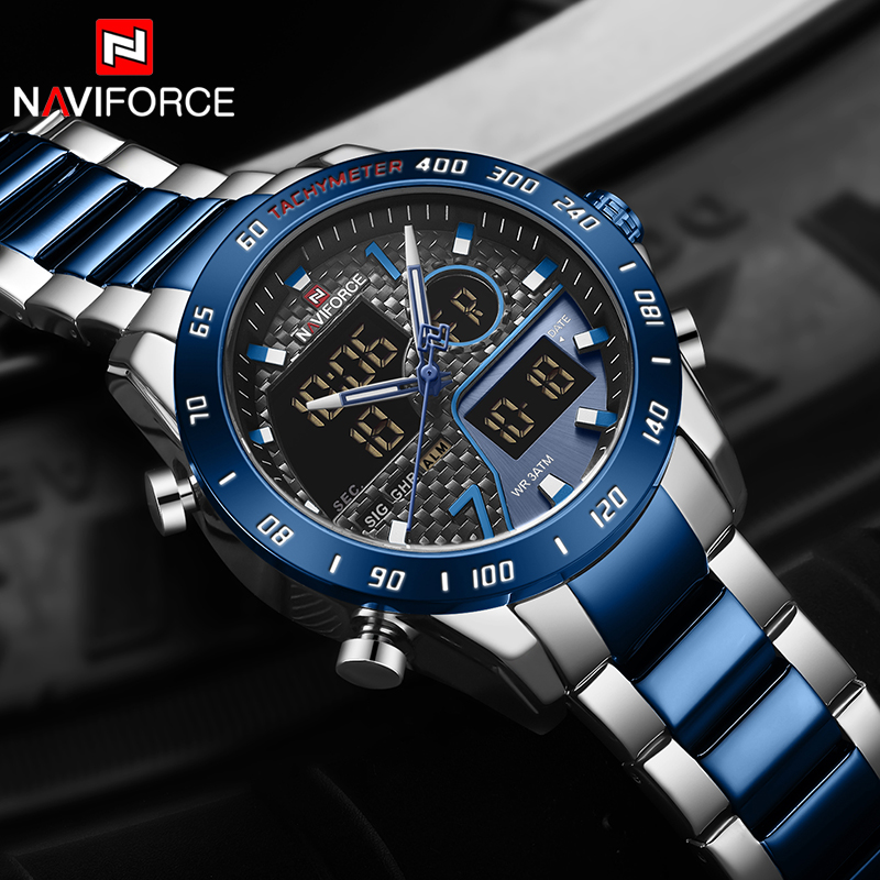Naviforce Watches Men Top Brand Luxury Chronograph Quartz Watch Men Full Steel Military Clock Male Wrist Watch Relogio Masculino