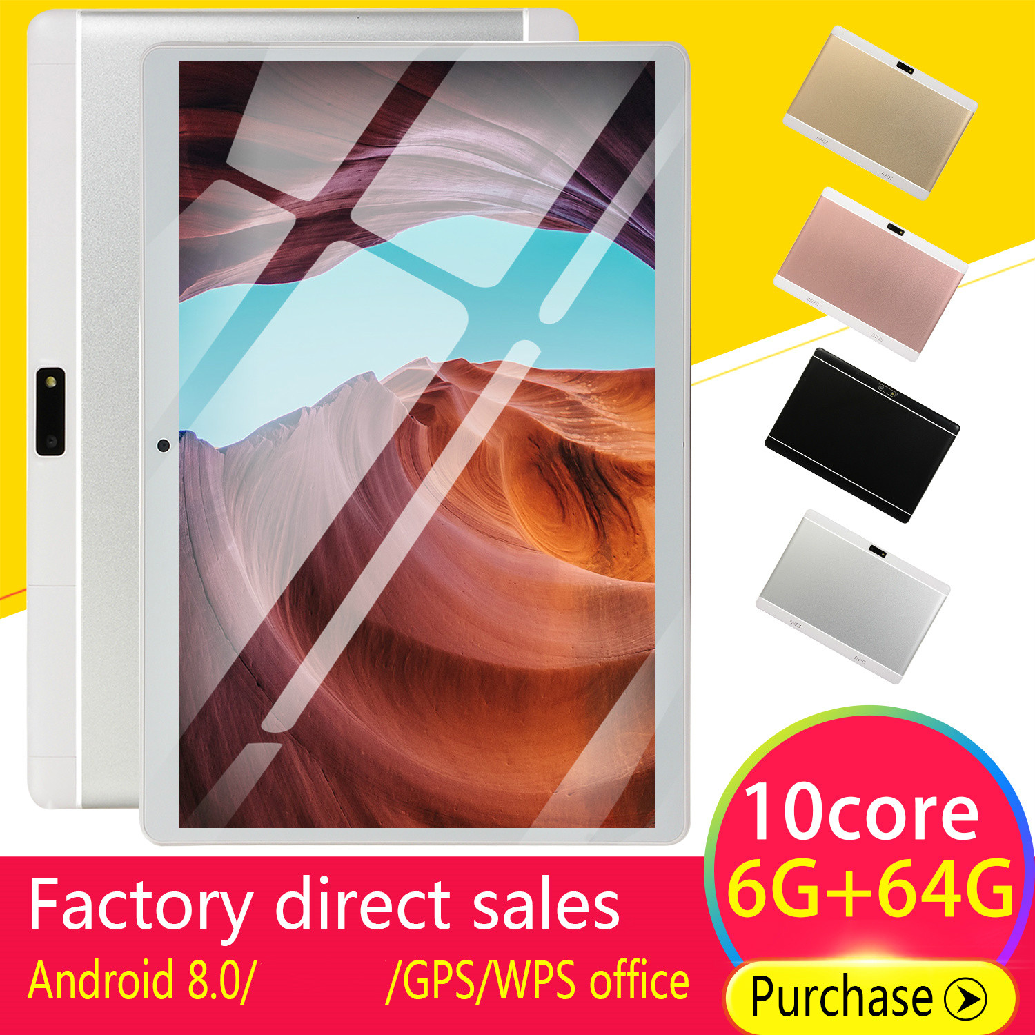 New  2020 WiFi Tablet  Screen 10\ Inch Ten Core 6G+64G  Dual SIM Dual Camera Rear Android8.0   GPS