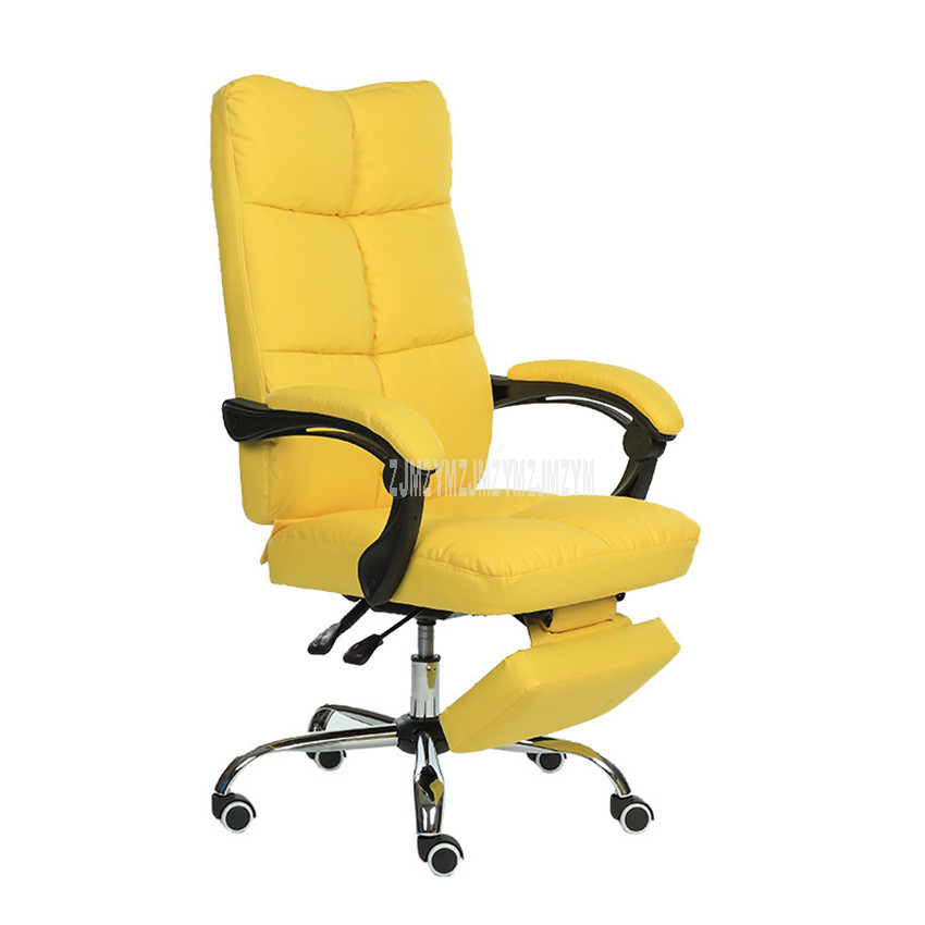 Reclining Computer Chair With Footrest Ecological PU Leather Height Adjustable Office Manager Rotatable Ergonomic Chair Recliner