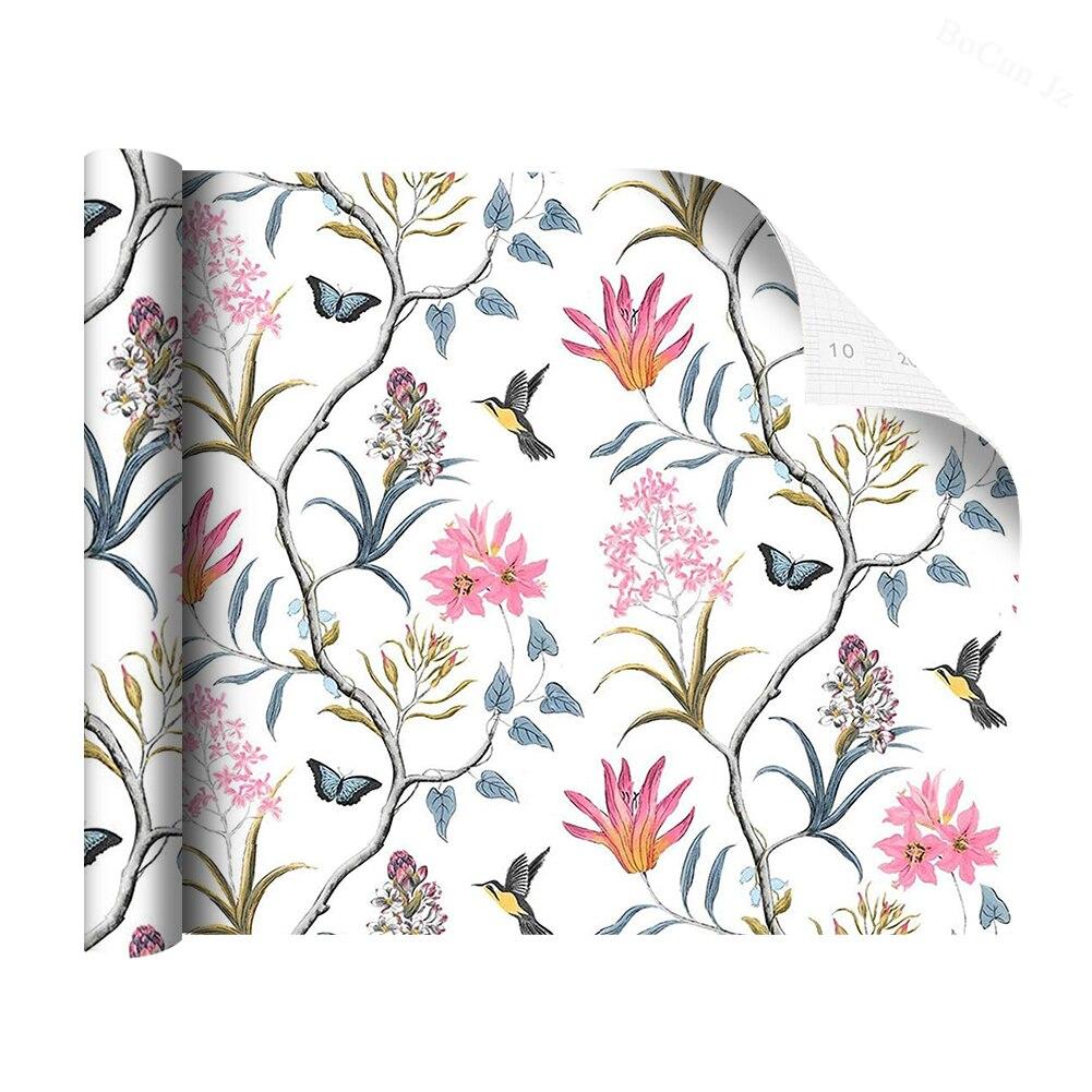 Самоклеящиеся обои из ПВХ для обновления мебели, винтажные обои с белыми цветами, птицами, бабочками для детской комнаты, Украшение стен