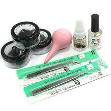 False Individual Extension Black Eyelash Glue Remover/ straight /curveTweezer/ false eyelash glue/air pumpKit Set