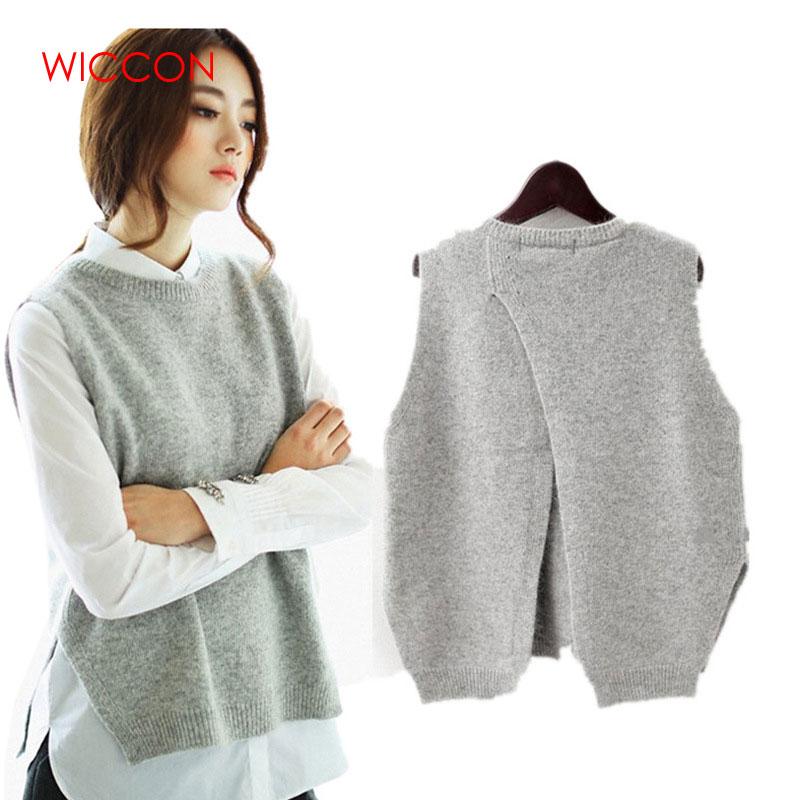 2020 Autumn Sleeveless Sweater Women O-Neck Back Cross Split Knitted Pullover Female Jumper Pullovers Femme