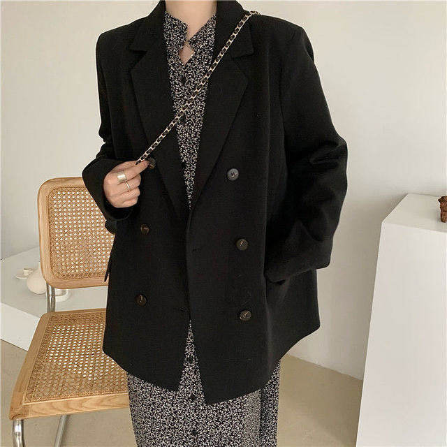 2021 Free Shipping Spring Autumn New Loose Black Coat Suit Women Fashion Simple Commuter Work Wear Jacket 2