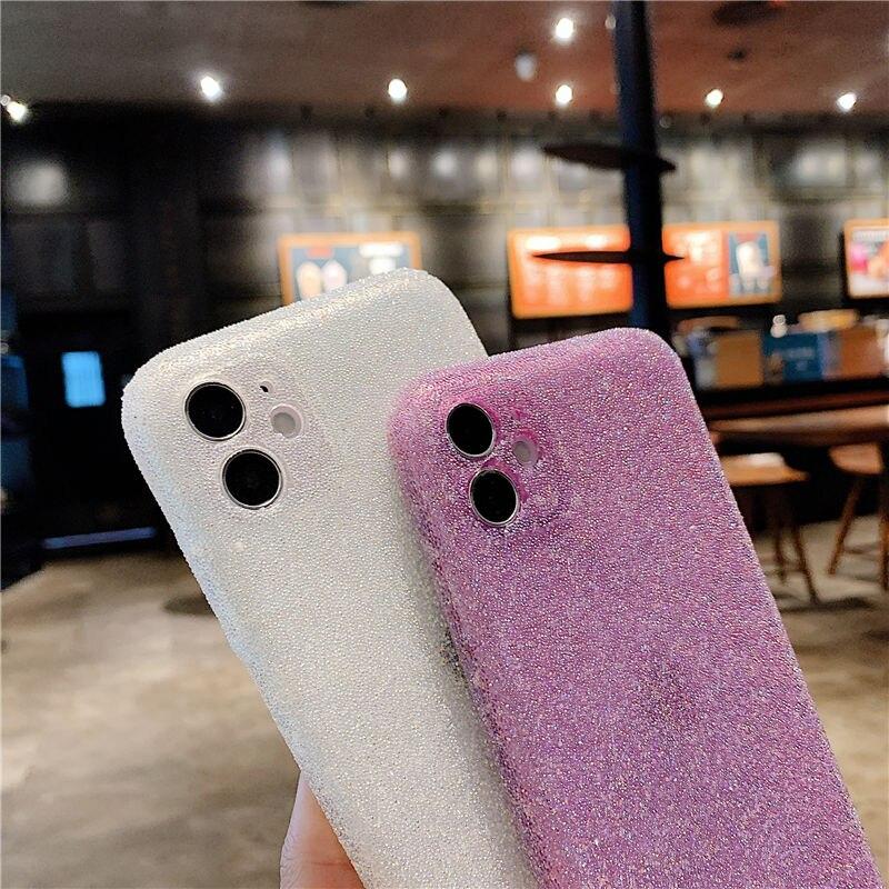 Funda de teléfono de silicona con purpurina para iPhone, funda de TPU suave a prueba de golpes, brillante, de lujo, para iPhone 12 11 Pro Max 12 Pro X XR XS Max 8 7 Plus 5