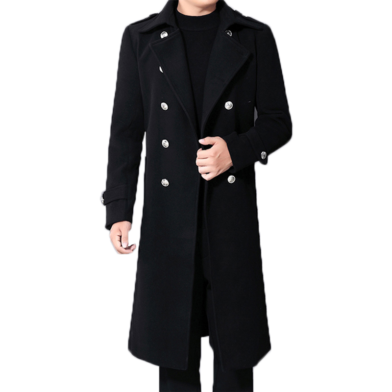 Long Coat Woolen Male Black Military Double-Breasted Fashion Business Men's Winter New title=