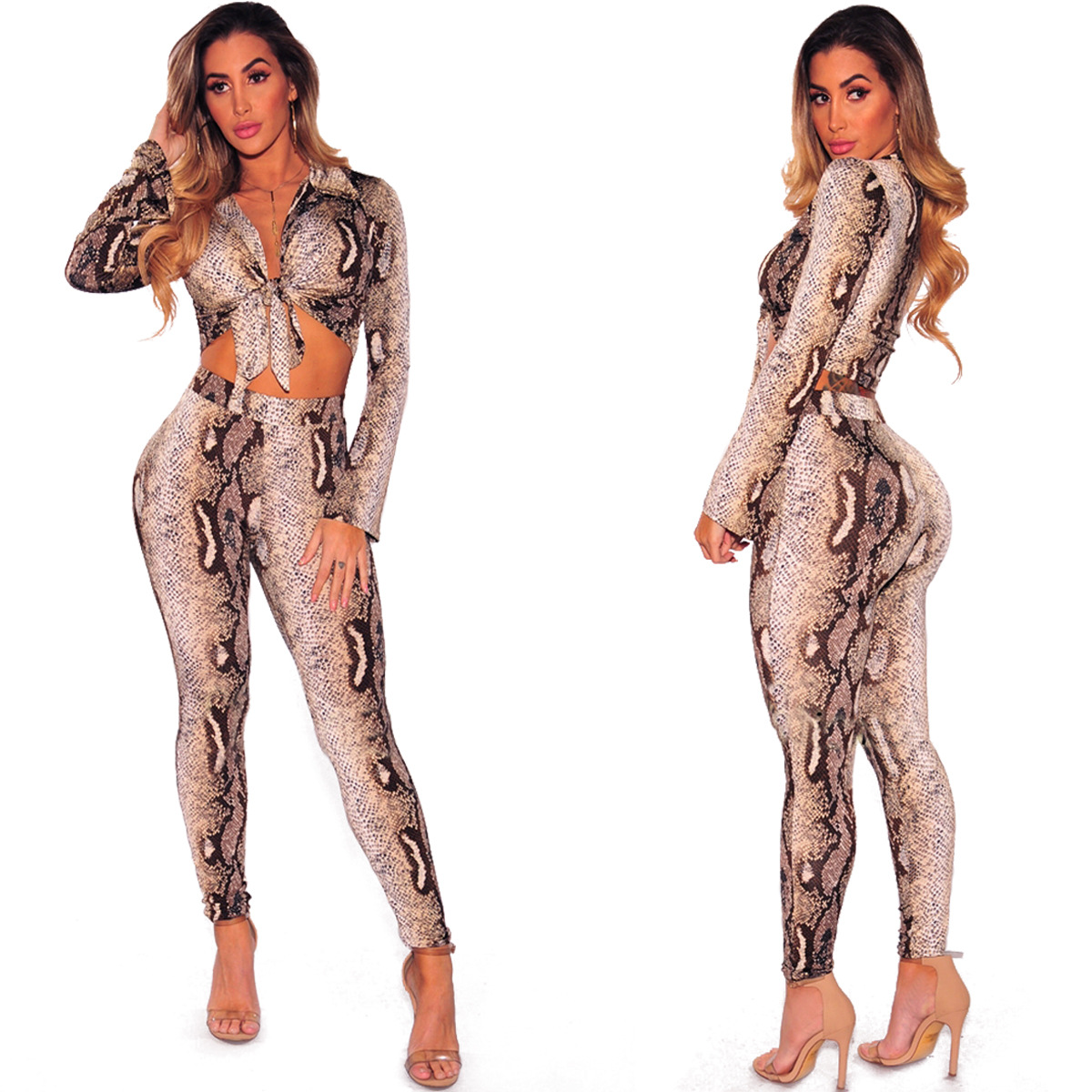 Hot Selling Sexy Python Fold-down Collar Lace-up Long-sleeved Upper Garment Slim Fit WOMEN'S Suit Currently Avai