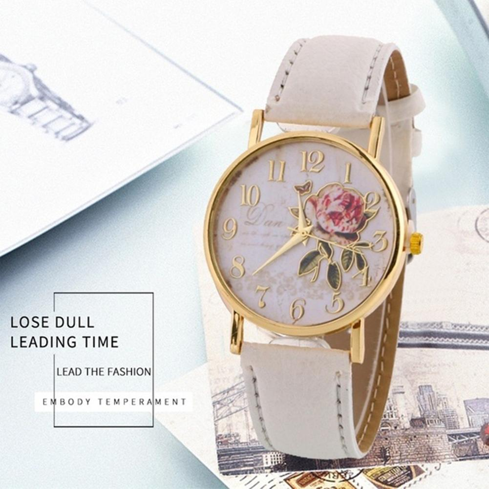 Top Luxury Brand Classic Women Watches Arabic Number Rose Flower Round Dial Faux Leather Band Quartz WristWatch Reloj Mujer часы