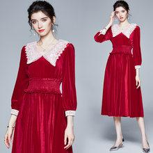 Zuoman женские зимние Элегантные Бархатные платье festa высокого