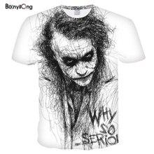 Новая мужская футболка эскиз клоун 3D Футболка с принтом Мужская джокер лицо Повседневная o-образным вырезом Мужская футболка клоун с короткими рукавами шутка Топы