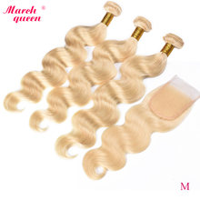 Marchqueen Indiase Body Wave Met Sluiting Medium Verhouding 613 Honing Blonde Bundels Met Sluiting Remy Human Hair Weave(China)