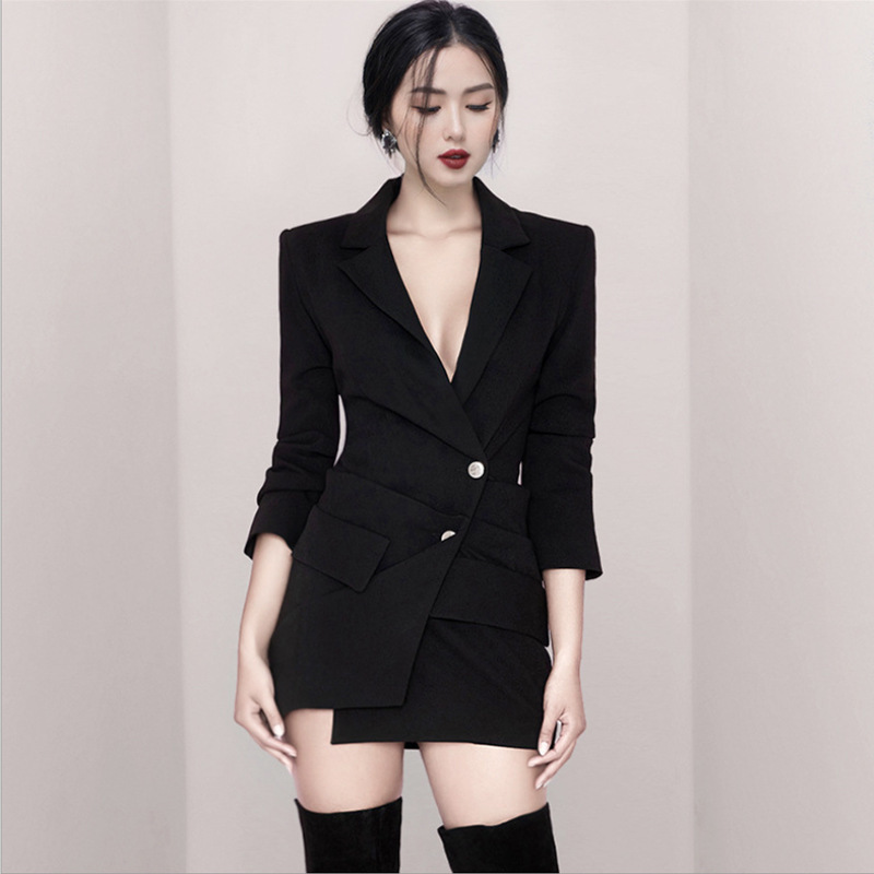 Spring Autumn Sexy Black Belt Blazer Dress Women Party Long Sleeve Bodycon Dress Fashion Elegant Club Female Short Mini Dress