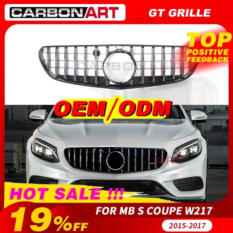 für Mercedes GT Grill S Cabrio W217 C217 A217 GLANZ SCHWARZ Frontgrill 15-17