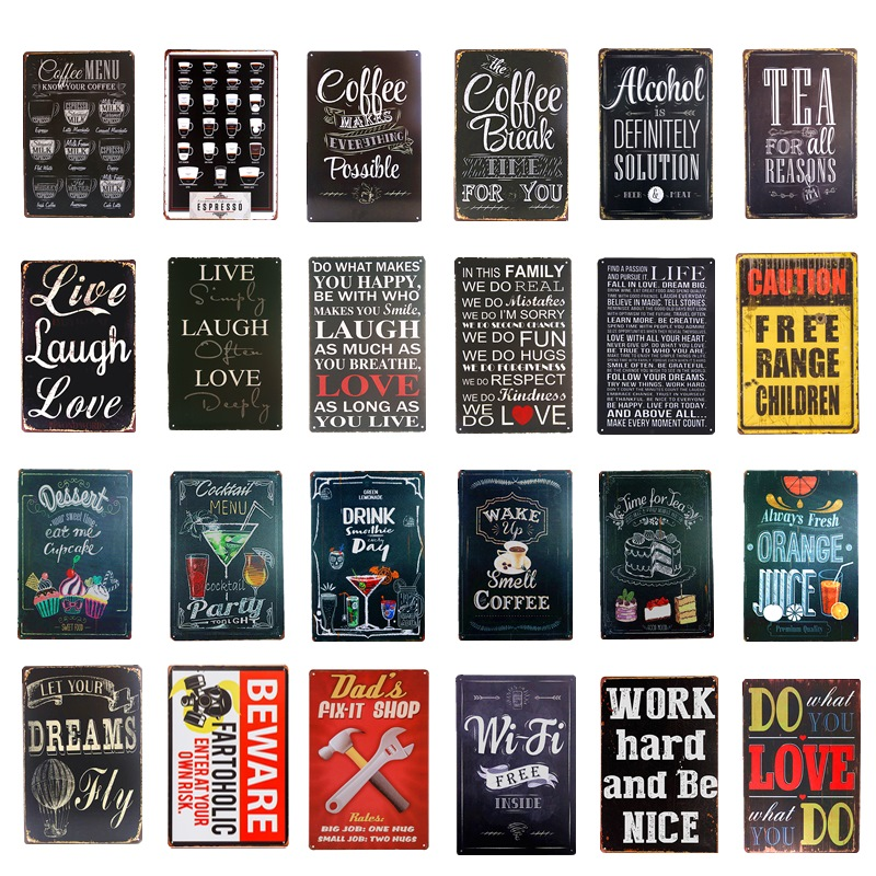 Metal Tin Signs Drink Coffee Shop Vintage Plate Cafe Decor Art Wall Hanging