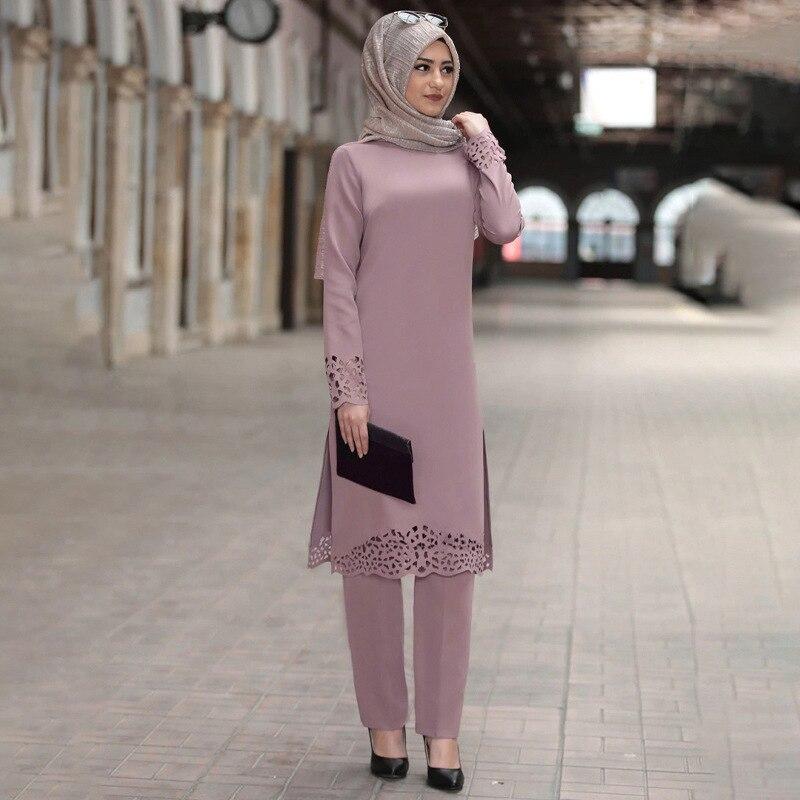 Two Piece Sets Tops and Pants Women Turkey Muslim Abaya Split Abaya Dresses Ramadan Moroccan Kaftan