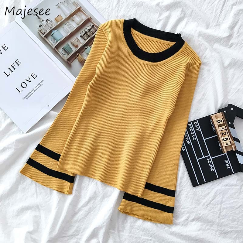 Pullovers Women Knitting Sweaters All-match Striped Simple Korean Style Chic Soft Student Harajuku Flare Sleeve Elegant Fashion
