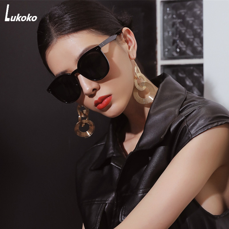LUKOKO Sunglasses Women Men 2020 Fashion Polarized Big Vintage Sun Glasses Uv400 Shades For Women Woman Driving Black Pink