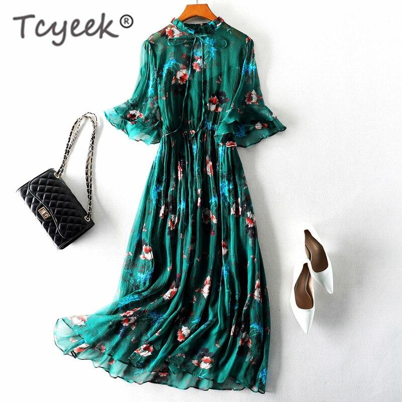 Tcyeek Vintage Summer Dress Women Clothes 2019 Boho 100% Real Silk Long Vestidos Ladies Floral Green Maxi Dress+top Mujer 98006