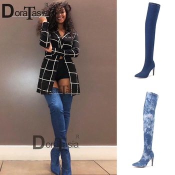 DORATASIA New Lady Classic Sexy Autumn Thigh High Boots High Heels Denim Over The Knee Boots Women 2020 Pointed Toe Shoes Woman fashion denim over the knee boots sexy open toe high heel boots woman thigh high boots stiletto heels jeans boots