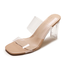 PVC Transparent Slippers Square Toe High Heels Women Shoes Clear Heels Slippers Summer Shoes Woman Sandals Designer Slides