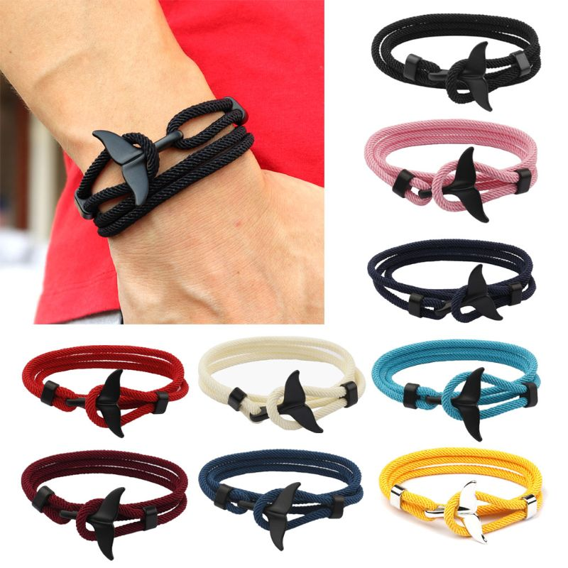 2020 Summer Handmade Whale Tail Viking Rope String Bracelet Beach Surfing Paracord Wristband Fashion Jewelry Unisex