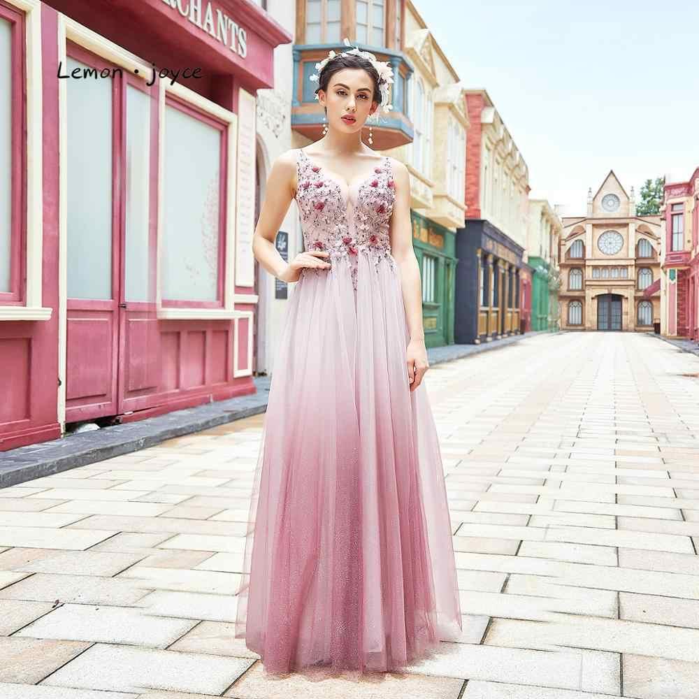 Розовые платья для выпускного Lemon joyce, длинные прозрачные вечерние платья с треугольным вырезом для девочек, весна 2020