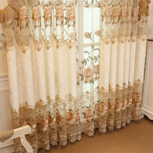 European Luxury Embroidered curtains for bedroom Polyester cotton Window blackout Curtains for Living Room Elegant Drapes european style villa luxury embroidered living room decorated bay window curtains high end bedroom floor curtains luxury drapes