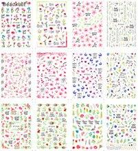 Verão flores unhas arte manicure volta cola decalque decorações design etiqueta do prego para unhas dicas beleza