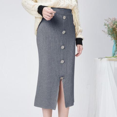 High Waist Winter Knitted Women Skirts 2019 Autumn Warm Casual Skirt Long Female Front Split Rib Skirts With Buttons Streetwear Multan
