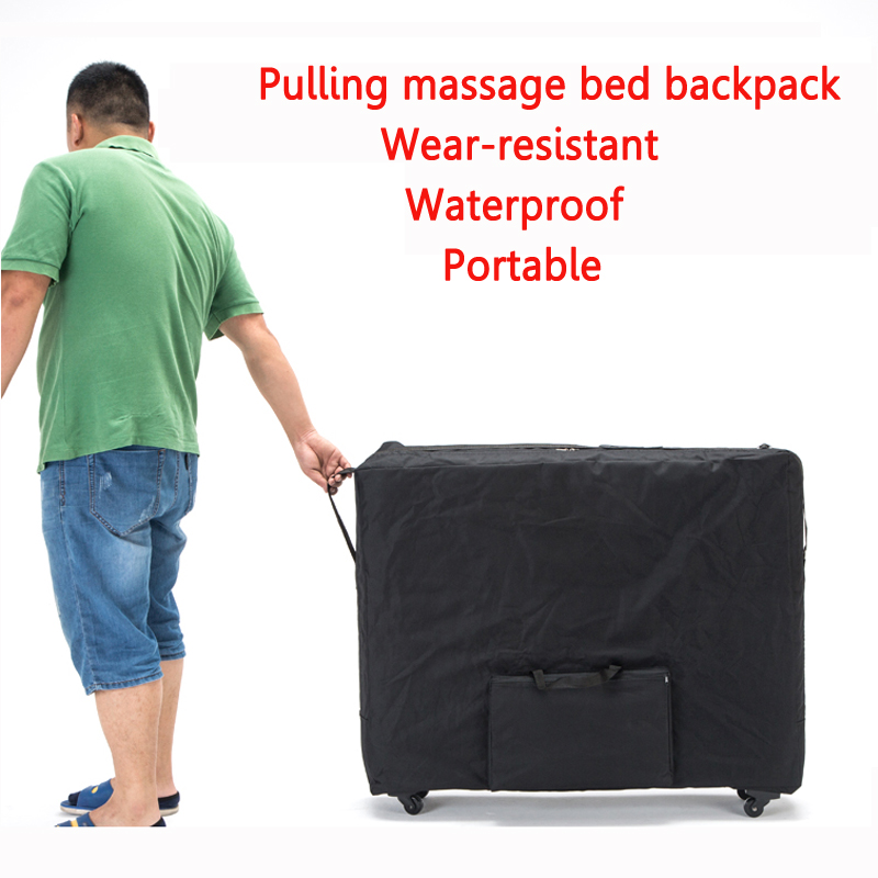 ,Push-pull Folding Storage Bag For Massage Bed Beauty Bed Waterproof Backpack With Wheel Wear-resistant Oxford Cloth 93*70cm