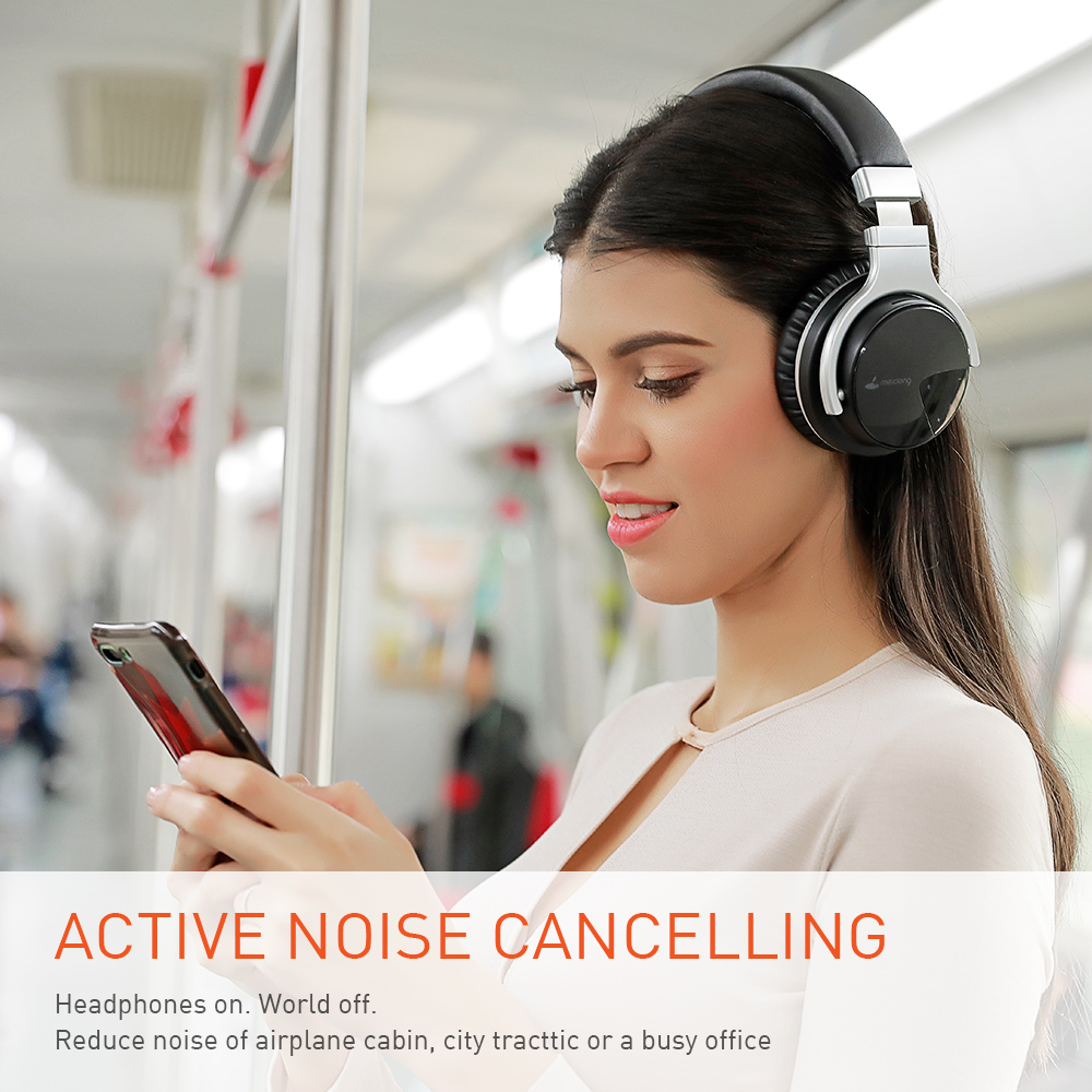 Meidong E7B [Verbeterde] Bluetooth Hoofdtelefoon Active Noise Cancelling Hoofdtelefoon Draadloze Headset Over Ear Met Microfoon Diepe Bas 2