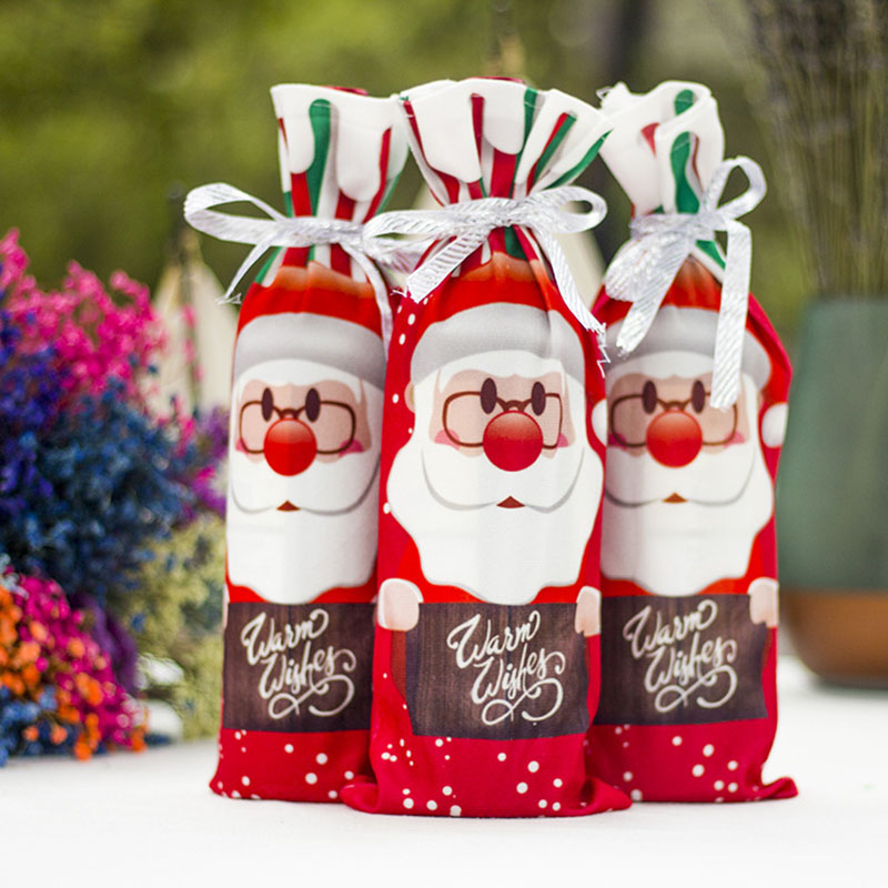 Red Wine Champagne Bottle Cover For Christmas Party Banquet Decoration Dinner DTT88