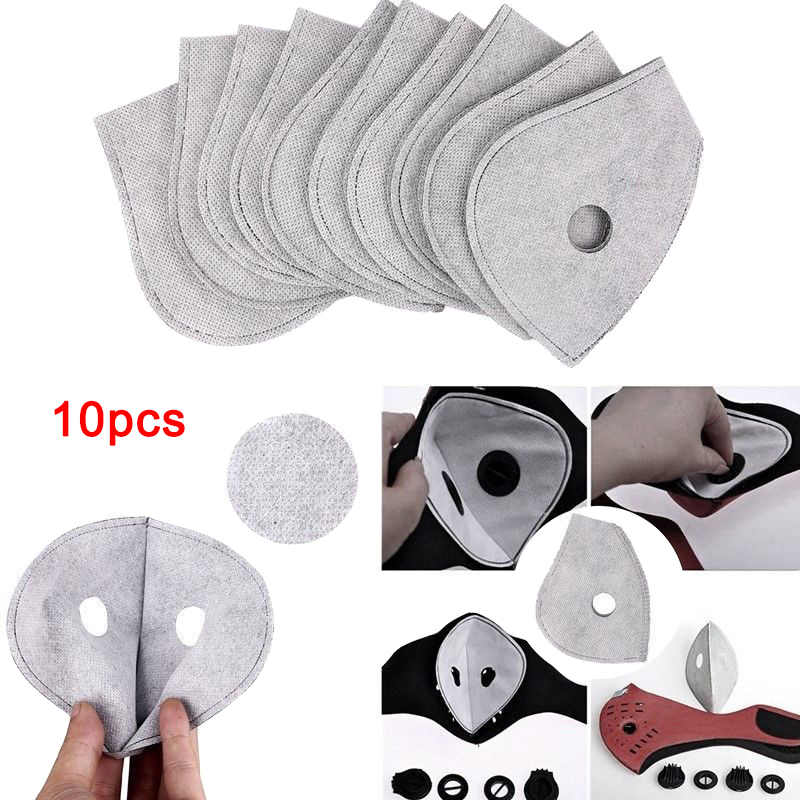 10Pcs Face Mask Activated Carbon Anti Dust Dustproof Anti Pollution Face Mask Filters for Motorcycle Bicycle Skiing Riding Mask