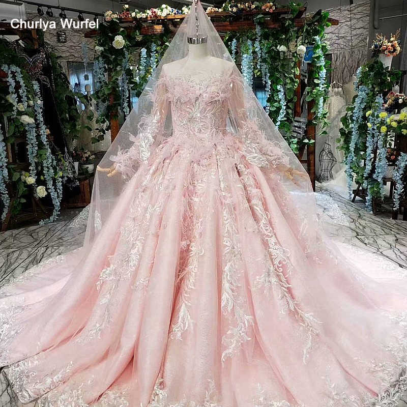 LS11994  ball gown wedding dresses long sleeve feathers illusion veil appliques pleat ruched pink wedding dress vestidos de boda