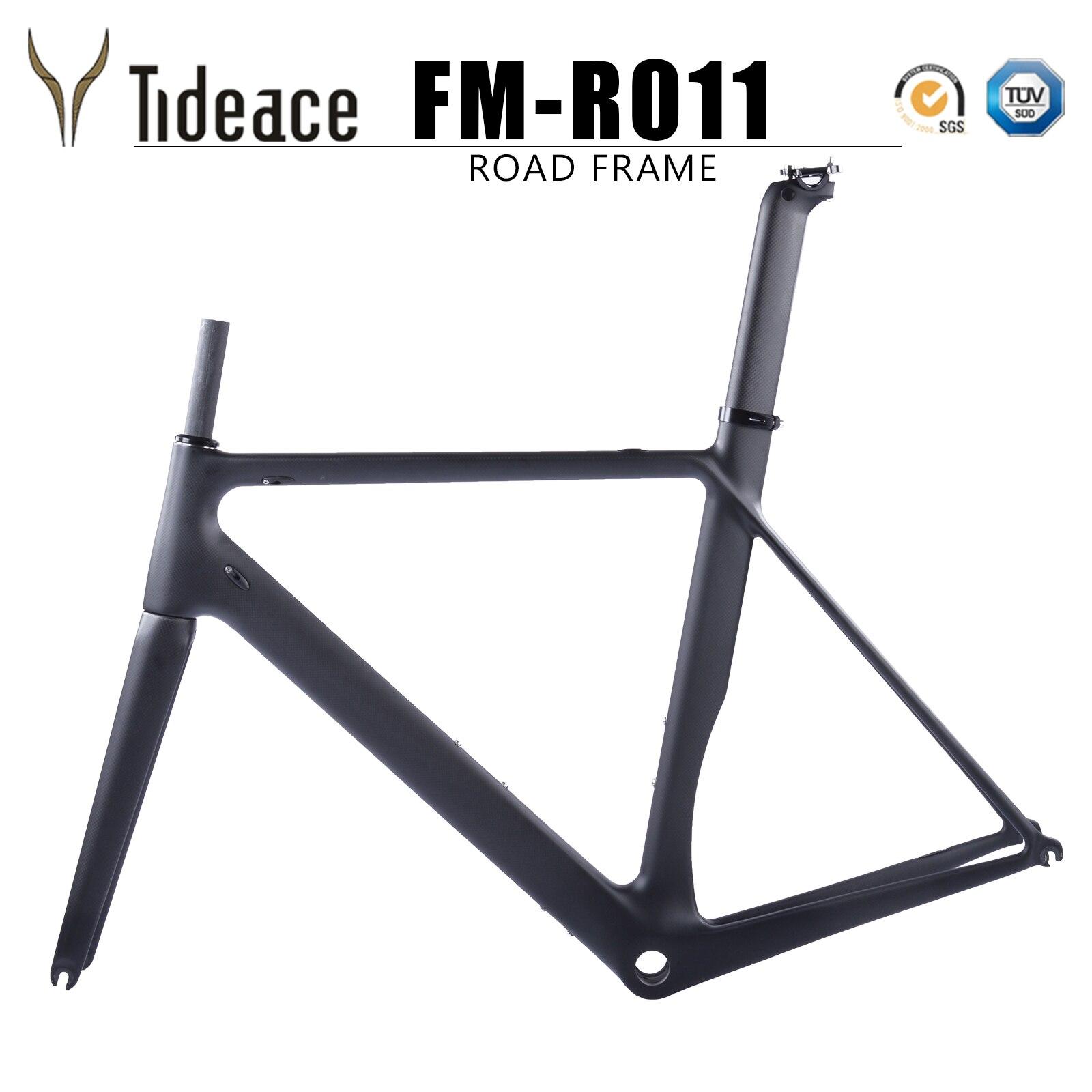 Tideace quadro da bicicleta de fibra de carbono estrada bicicleta conjunto de quadros quadro de carbono corridas de estrada de carbono super leve aceitar DIY