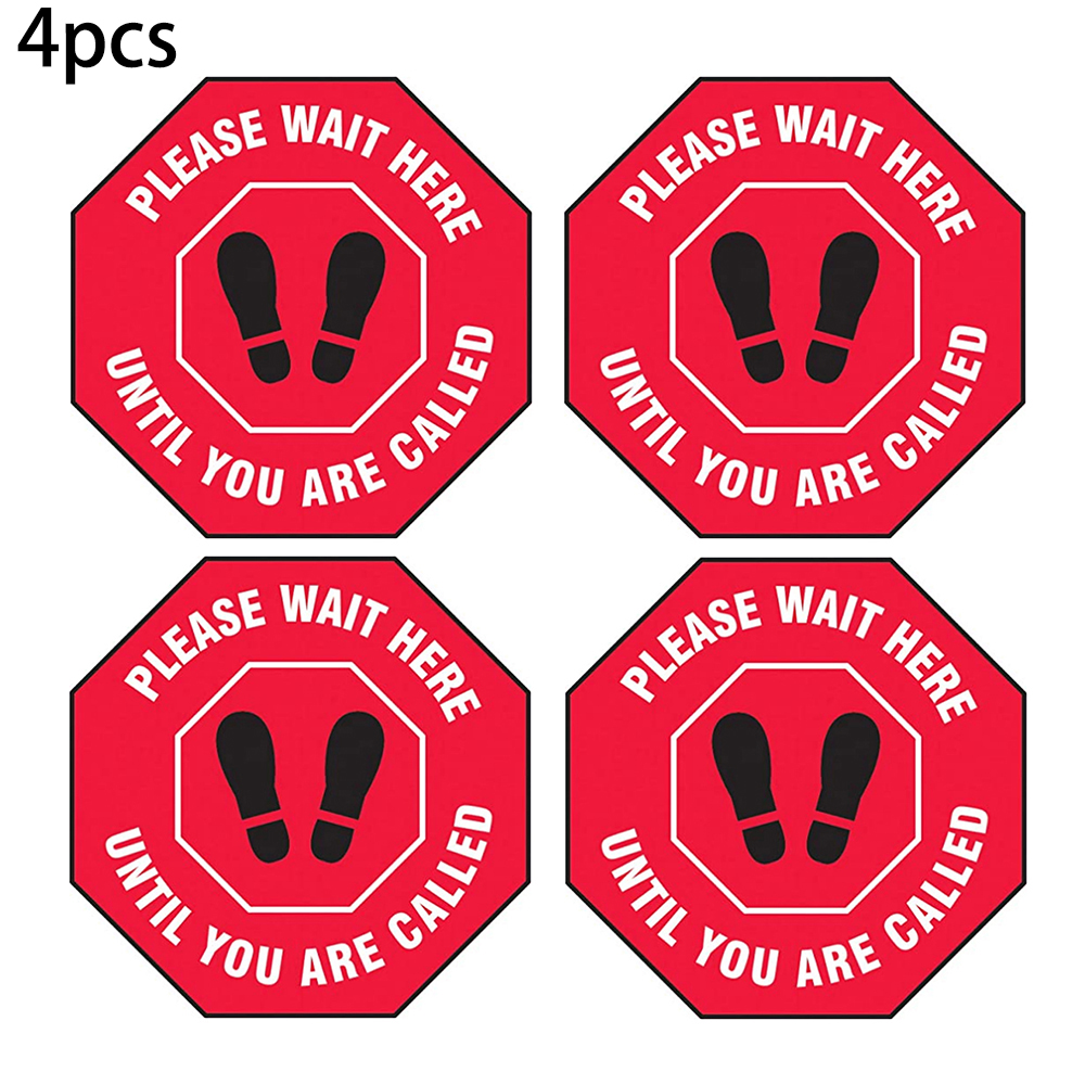 4Pcs Red Premium PVC Material Social Distancing Stickers Universal Logo Stickers For Public Shop Office Floor Decals