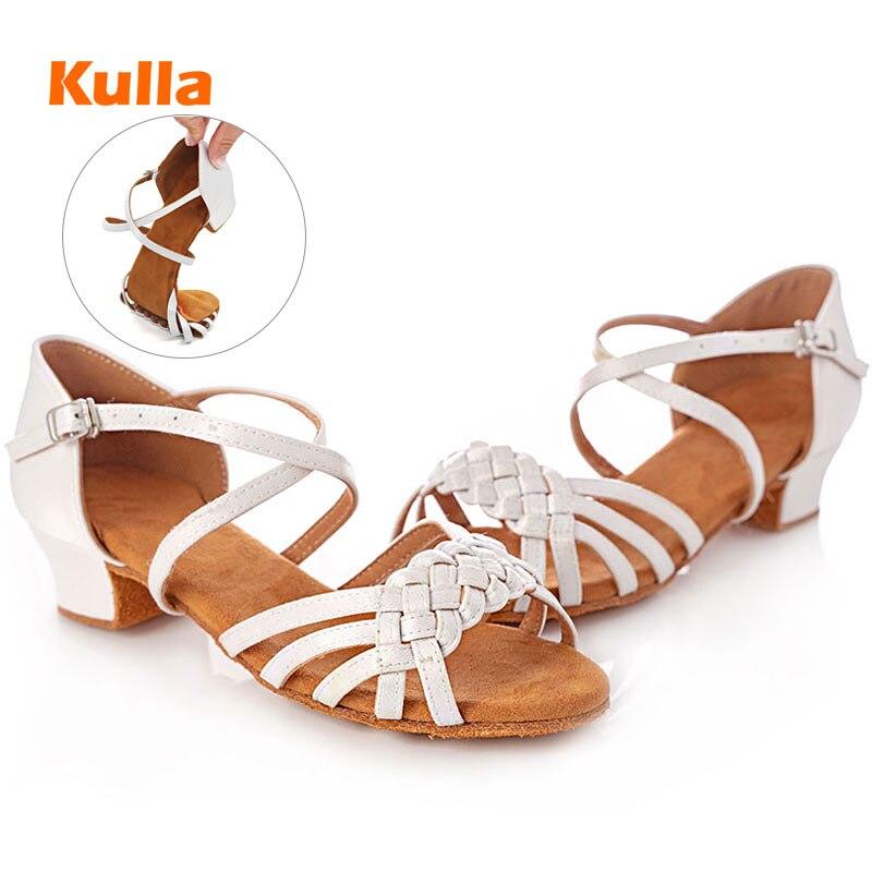 Kinder Mädchen Latin Dance Schuhe Frauen Ballsaal Salsa Kinder Dance Schuhe Low Heels Weiß Tango Tanzen Schuhe Großhandel Größe 24 -42