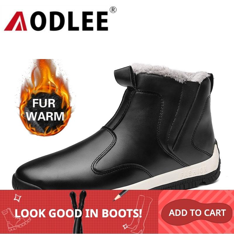 Boots Men Waterproof Fashion Leather Mens Boots Comfortable Men Shoes Ankle Boots Plush Winter Warm Men Snow Boots Size 39~48