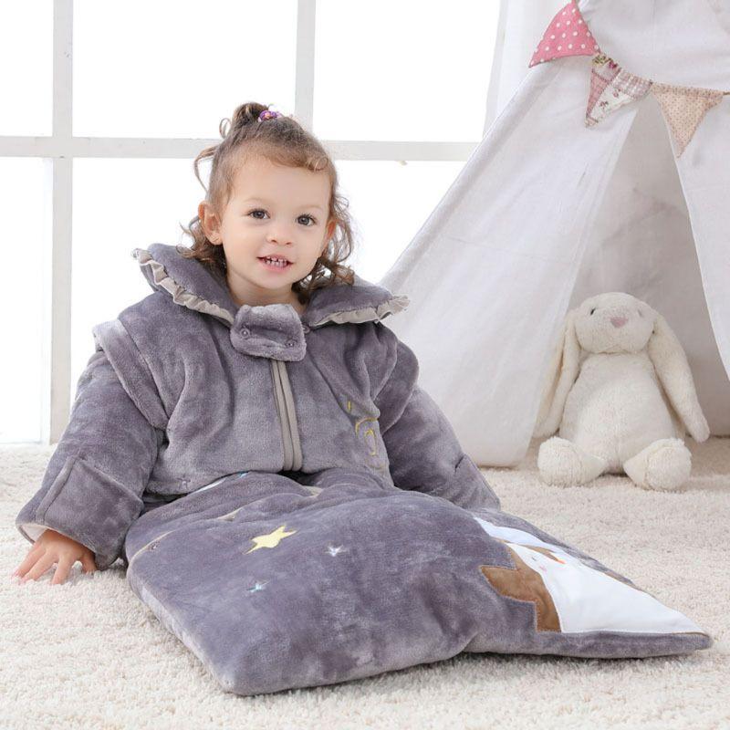 Sac de couchage bébé avec oreiller chaud doublé hiver à manches longues hiver sac de couchage