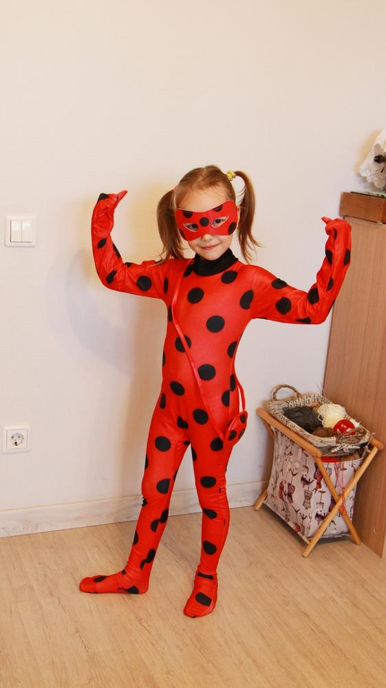 Fantasy Child Adult Lady Bug Costume Girl Women's Child Ladybug Game Costume Jumpsuit Fancy Halloween Cosplay Black Cat Wig