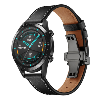 Genuine Leather 22MM Watch Band for Huawei Watch GT 2 Strap Bracelet for Samsung Galaxy Watch 46MM/ Gear S3 Frontier Replacement 22mm watch band leather strap for huawei gt2e watch strap for samsung galaxy watch 46mm watchband for samsung gear s3 frontier