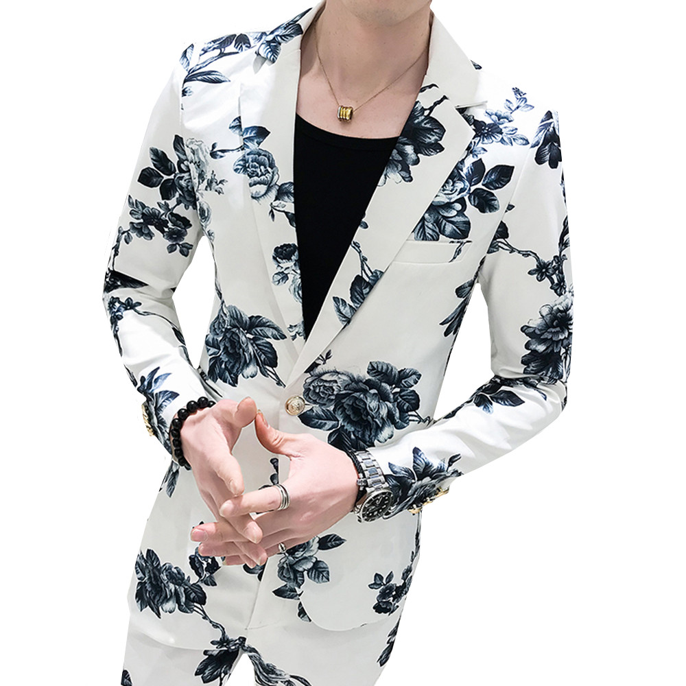 Floral Print Suits Men's Party Fashion Slim (blazer+ Pants) Fashion Flower Suit Male Banquet British Style Business Casual Set